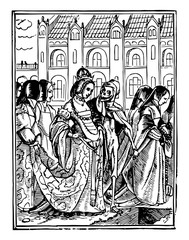 Dance of Death, The Queen walking with skeleton in this picture, vintage engraving.