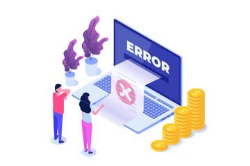 Payment error info message isometric concept.  Customer cross marks failure. Vector illustration.