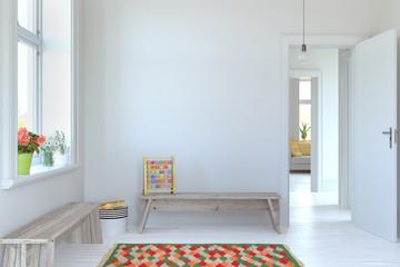 kids room interior. Wall art. 3d rendering, 3d illustration. Scandinavian style.