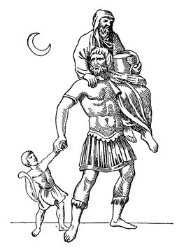 Aeneas vintage illustration.