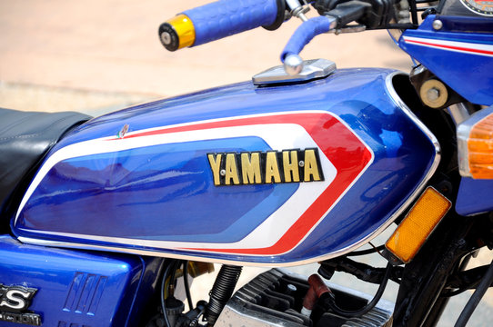 KUALA LUMPUR, MALAYSIA -MARCH 28, 2018: YAMAHA motorcycle brand & logos at the motorcycle body. YAMAHA is one of the famous motorcycles manufactures in the world from Japan.