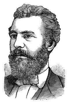 Alexander Graham Bell, vintage illustration