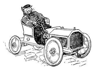 Cat Driving, vintage illustration