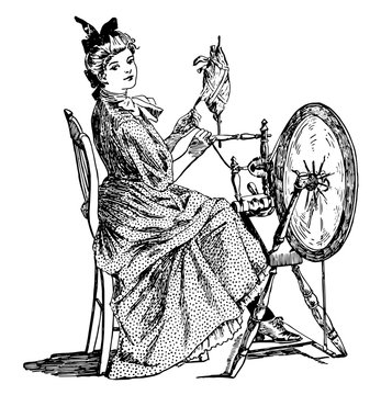 Spinning Wheel shall buzz and whirr, vintage engraving.
