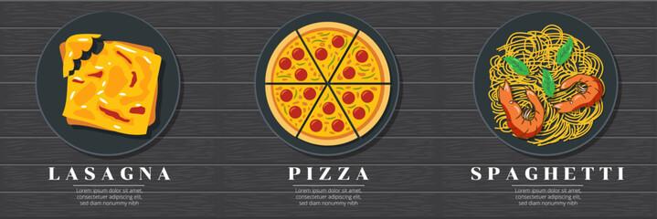 Lasagna, margarita pizza and seafood spaghetti, Italian food set graphic