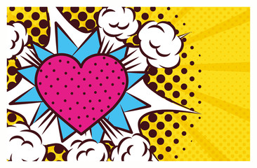 heart love pop art style