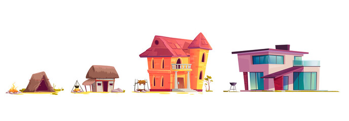 Evolution of house architecture, cartoon vector illustration. Human home dwelling development process, hut of branches icon, medieval rural house, old stone mansion and modern concrete villa isolated