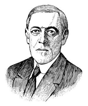 Woodrow Wilson, vintage illustration