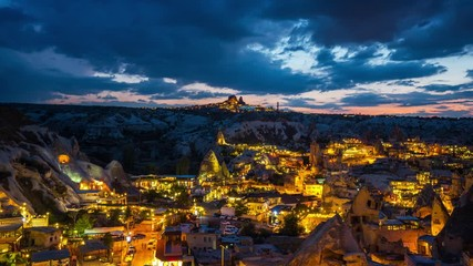 Fototapete - Time lapse of Goreme town at night in Cappadocia, Turkey.
