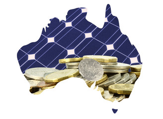 Australia map with money