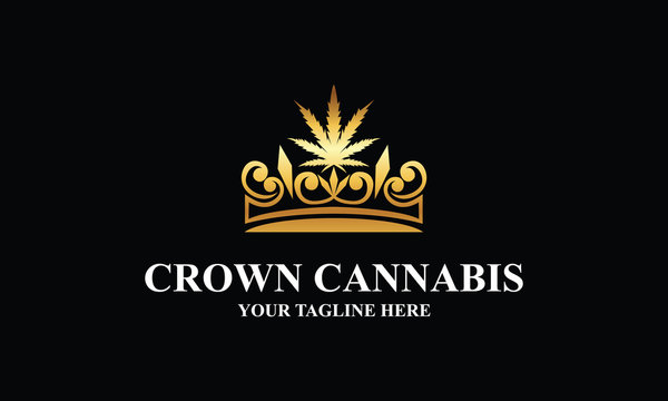 golden crown and cannabis logo design inspirations