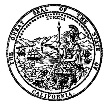 The Great Seal of the State of California, vintage illustration