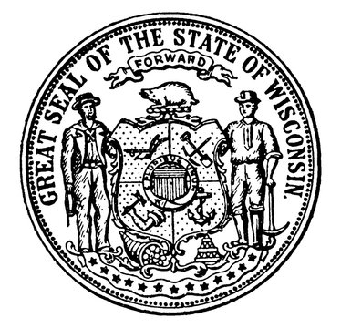 The Great Seal of the State of Wisconsin, vintage illustration