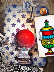 Spoed Fotobehang Imagination Magic red crystal ball with ace of tarot cups