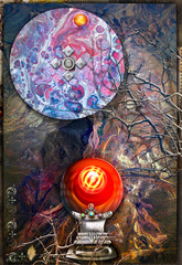 Fotobehang Imagination Background with magic cristal ball in to abstract landscape.
