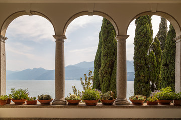 VARENNA / ITALY - JULY 2015: View to the garden from the entrance of Villa Monastero, in Varenna...