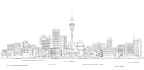Fototapete - Auckland cityscape line art style detailed vector illustration
