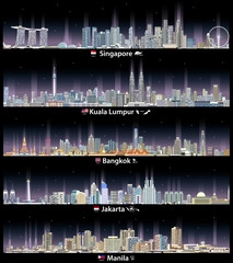 Fototapete - vector illustration of Singapore, Kuala Lumpur, Bangkok, Jakarta and Manila cityscapes at night