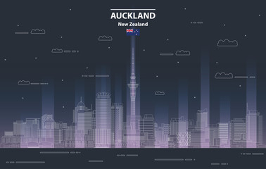 Fototapete - Auckland cityscape at night line art style vector illustration