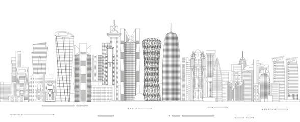 Fototapete - Doha cityscape line art style detailed vector illustration