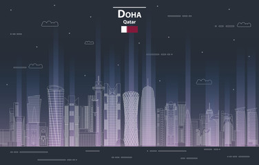 Fototapete - Doha cityscape at night line art style detailed vector illustration