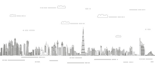 Fototapete - Dubai сityscape line art style vector detailed illustration. Travel background
