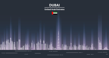 Fototapete - Dubai сityscape at night line art style vector detailed illustration. Travel background