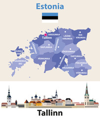 Fototapete - Estonia regions map with Tallinn city skyline. Vector illustration