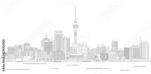 Fototapete Auckland cityscape line art style detailed vector illustration