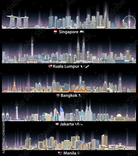 Fototapete vector illustration of Singapore, Kuala Lumpur, Bangkok, Jakarta and Manila cityscapes at night