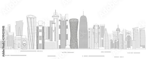 Fototapete Doha cityscape line art style detailed vector illustration