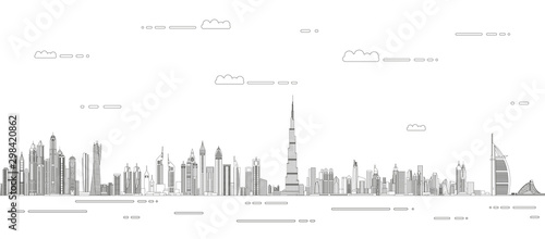 Fototapete Dubai сityscape line art style vector detailed illustration. Travel background