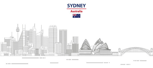 Wall Mural - Sydney cityscape line art style vector illustration