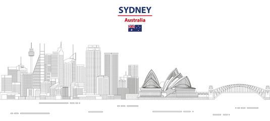 Fototapete - Sydney cityscape line art style vector illustration