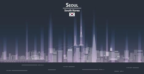 Fototapete - Seoul cityscape at night line art style detailed vector illustration