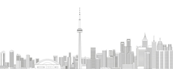 Fototapete - Toronto cityscape line art style detailed vector illustration