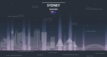 Fototapete - Sydney cityscape at night line art style vector illustration