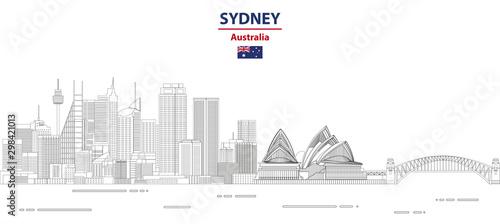 Fototapete Sydney cityscape line art style vector illustration