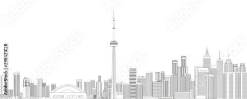 Fototapete Toronto cityscape line art style detailed vector illustration