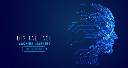 digital technology face artificial intelligence concept design