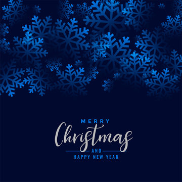 merry christmas beautiful snowflakes blue background design