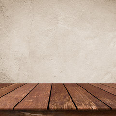 close up retro plain sepia tone color cement wall  background texture with old wood perspective...