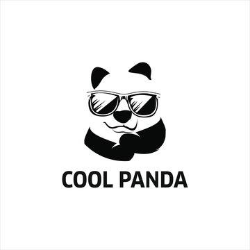 geek panda logo cool bear vector graphic design element