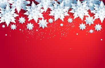 Fotomurales - Red winter holiday realistic snowflakes