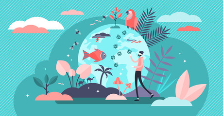 Biodiversity vector illustration. Flat tiny various wildlife person concept