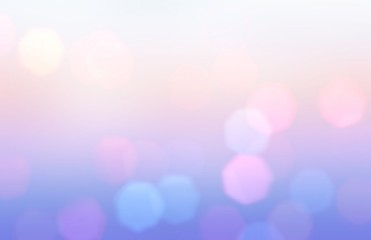 Bokeh lilac pink blue wonderful pattern. Cool abstract background. Holiday garland lights. Fantasy sky blurred texture.