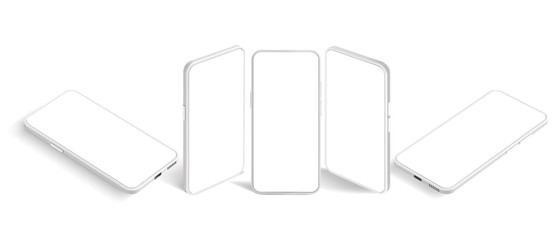 Isometric white smartphone mockup. Mobile app presentation template, smartphones screen and modern mobile phone perspective view realistic 3D vector set. Cellphone model cliparts collection