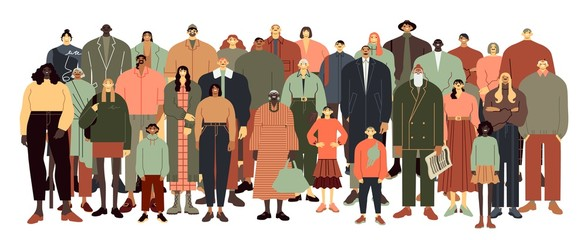 Multinational people stand together. Teenagers, elderly, young and adult men and women group vector illustration. International society, age brackets isolated on white background. Tolerance concept