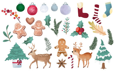 Watercolor Christmas object collection with christmas tree,ball,reindeer.Vector illustration for icon,logo,sticker,printable