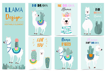 Collection of animal background set with llama,cactus,green.Editable vector illustration for birthday invitation,postcard and sticker.Wording include llama not drama